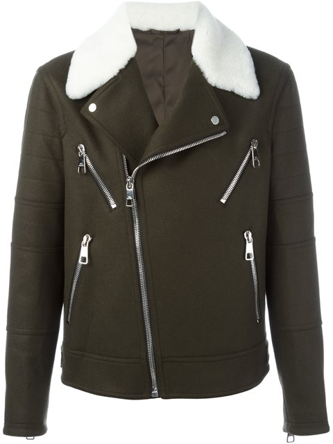 Neil Barrett Shearling Collar Biker Jacket