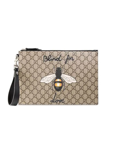 Gucci Blind For Love Bee Gg Supreme Pouch In 8666 Beige