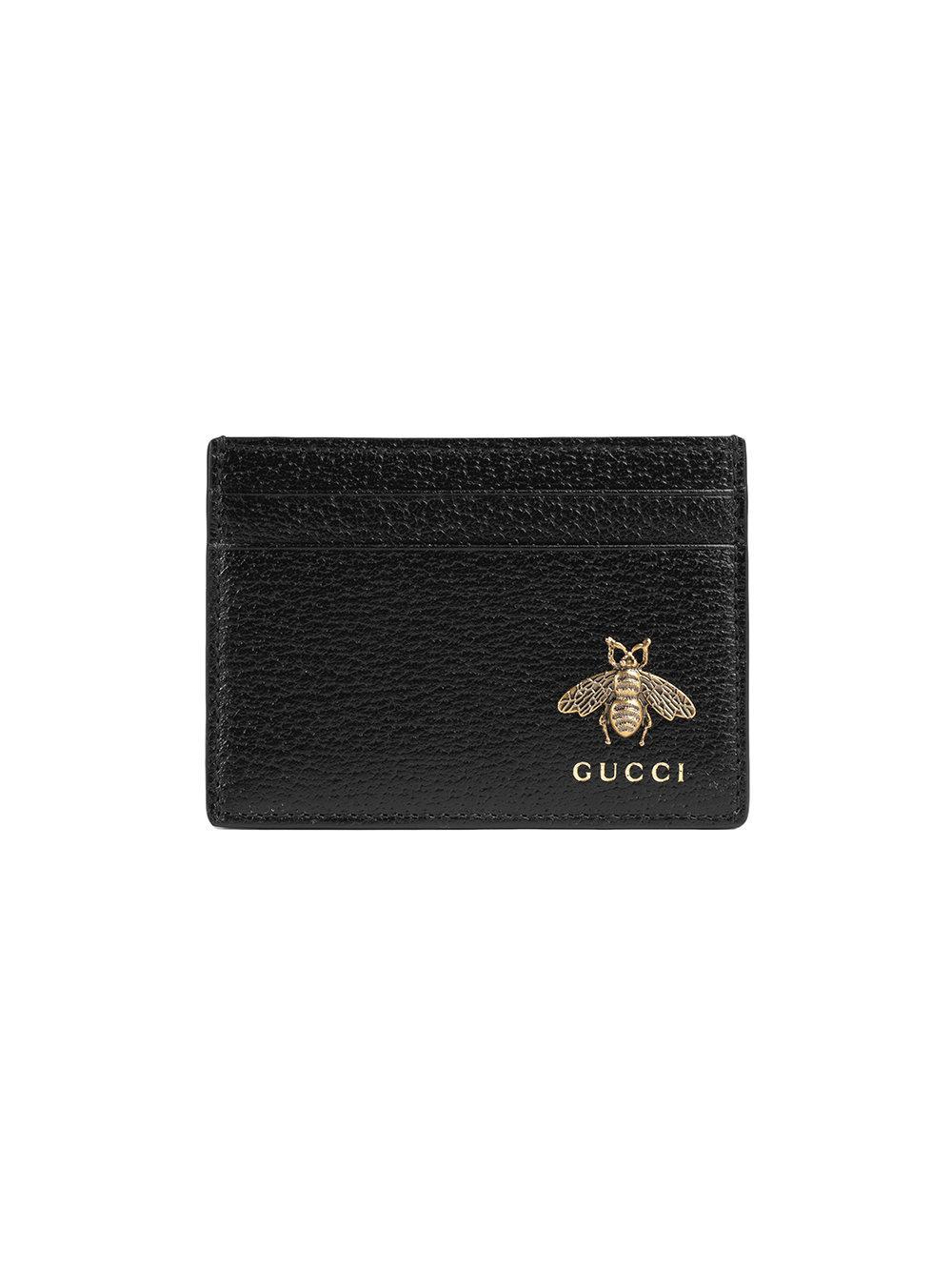ea21264033dcd3 Gucci Animalier Leather Card Case - Black In 1000 Nero | ModeSens