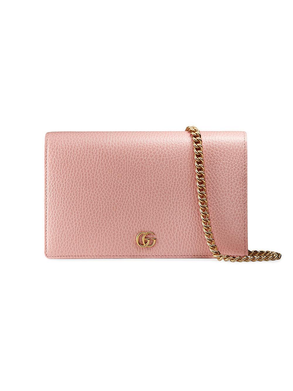 061ba23d0a0e Gucci Gg Marmont Leather Mini Chain Bag - Pink | ModeSens