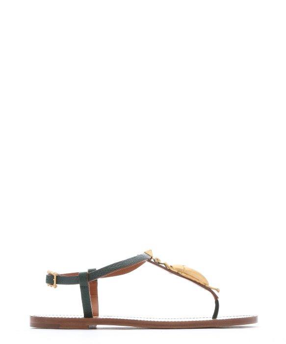 Valentino Green Leather T-Strap Sandals In Rubin