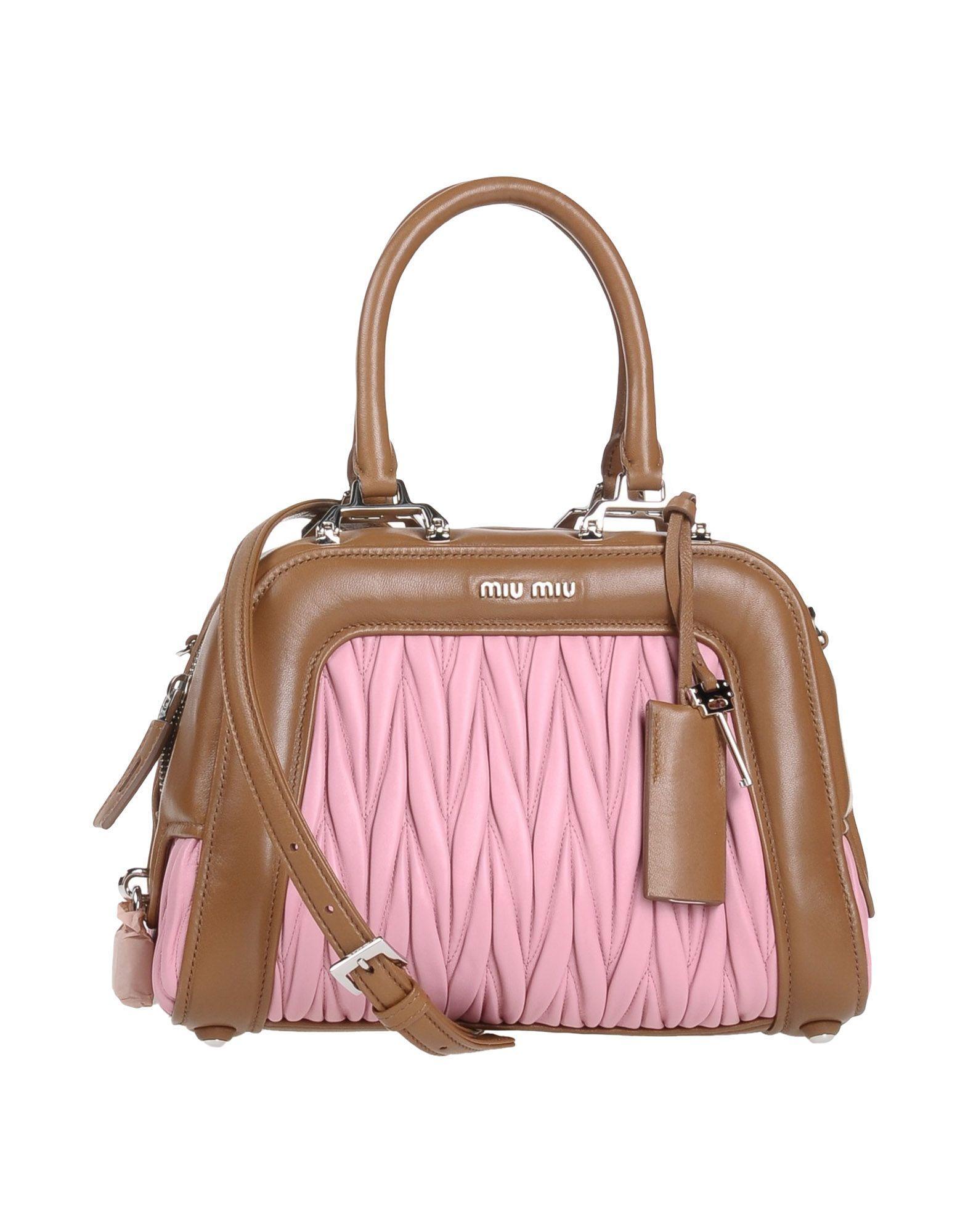 Miu Miu Handbags In Camel