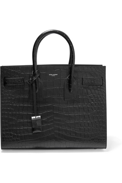 Saint Laurent Sac De Jour Small Crocodile-Stamped Carryall Bag, Black