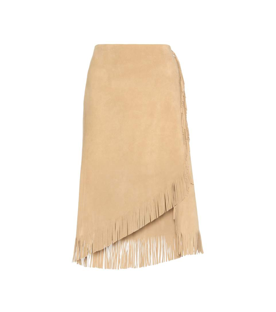 Polo Ralph Lauren Fringed Suede Wrap Skirt In Beige
