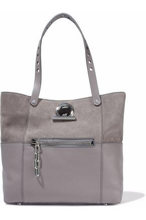Alexander Wang Woman Chain-Trimmed Suede And Textured-Leather Tote Gray