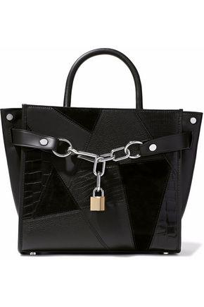 Alexander Wang Woman Chain-Embellished Textured-Leather And Suede Tote Black