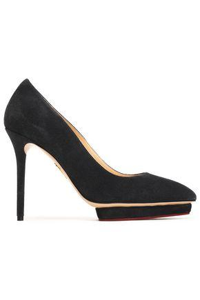Charlotte Olympia Woman Suede Platform Pumps Charcoal