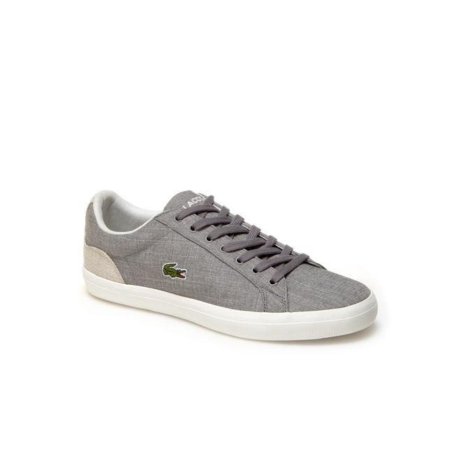Lacoste Men's Lerond Canvas Trainers In Grey/Natural