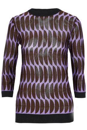 Marni Metallic Intarsia-Knit Sweater In Lavender