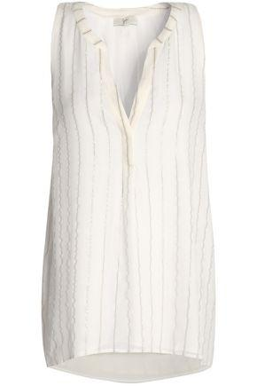 Joie Woman Aruna Metallic Striped Silk-Blend Top Off-White