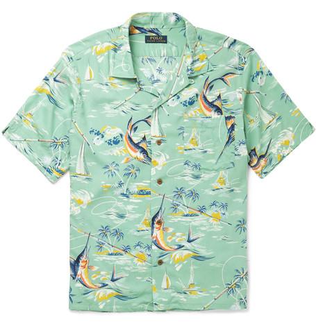 Print Camp Collar Hawaiian Shirt Crepe VzGqUSMp
