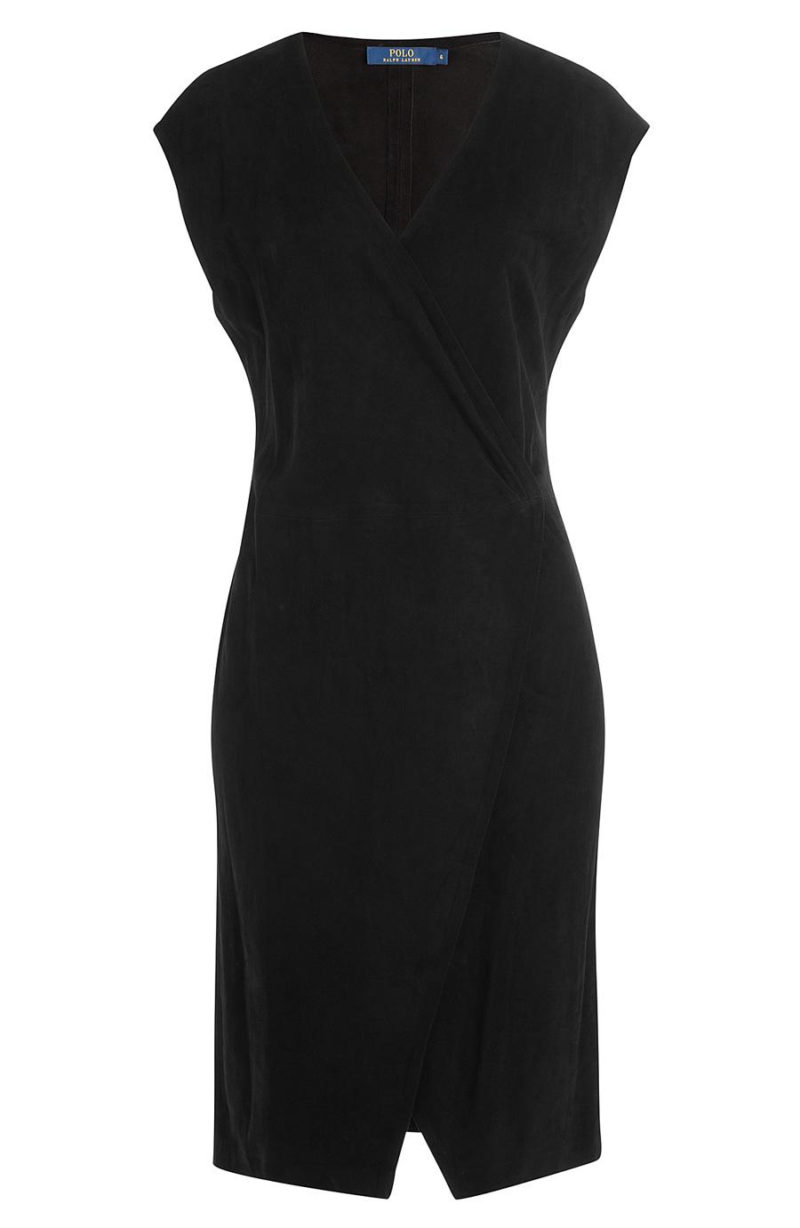 newest pretty cheap really cheap Polo Ralph Lauren Suede Cap-sleeve Wrap Dress In Black   ModeSens