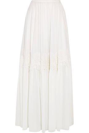 Chloé Guipure Lace-trimmed Stretch-silk Mousseline Maxi Skirt In White
