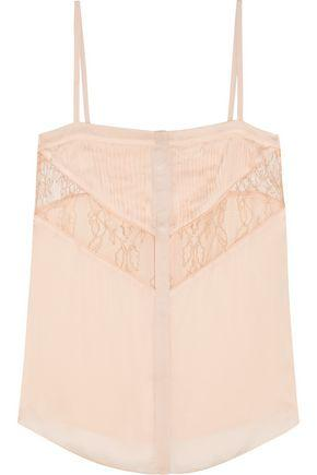 Givenchy Woman Leaver's Lace-Paneled Pleated Silk-Chiffon Camisole Pastel Pink In Blush