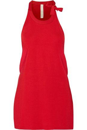 Dion Lee Woman Bow-Detailed Draped Stretch-Knit Top Red