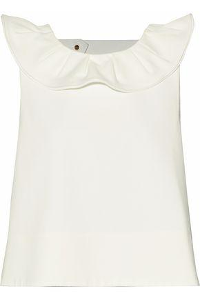Tibi Agathe Ruffled Scuba Top In Ivory