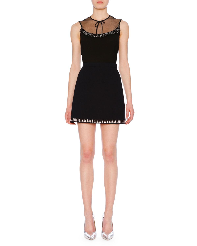 Miu Miu Sleeveless Embellished Crepe Top W/ Lace Neckline In Black