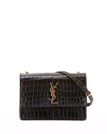 7a328b1285c Saint Laurent Small Sunset Croc Embossed Leather Shoulder Bag - Black In  Nero