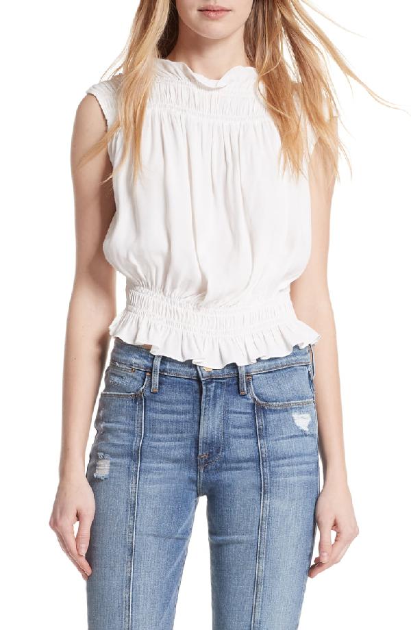 97ef350d17b660 Frame Soft Sleeveless Smocked Blouse In Off White | ModeSens