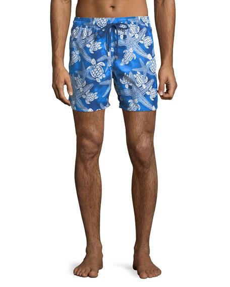 7853a83bef Vilebrequin Men's Moorea Starlettes Turtles Vintage Swim Trunks In Neptune
