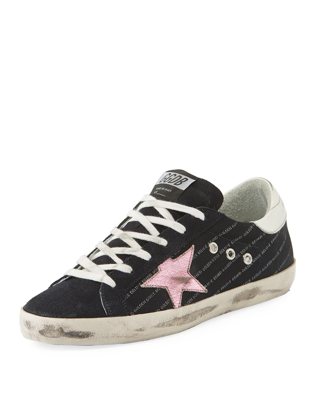 Golden Goose Superstar Low-Top Mixed Sneakers In Black