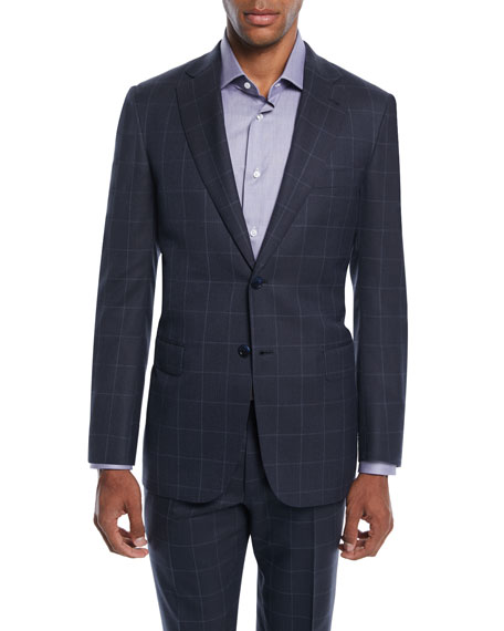 Brioni Men's Windowpane Two-Piece Wool-Silk Suit In Navy