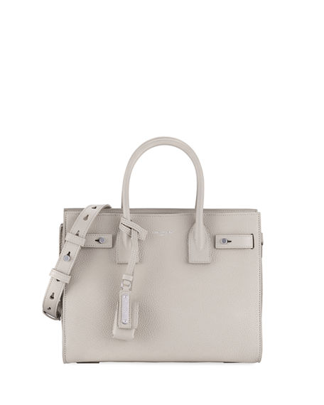 Saint Laurent Sac De Jour Baby Supple Bonded Leather Tote Bag In Neutral