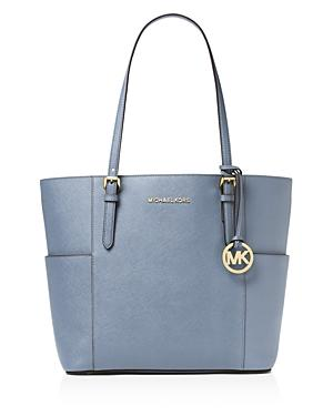 Michael Kors Jet Set Large Leather Tote In Pale Blue/Gold