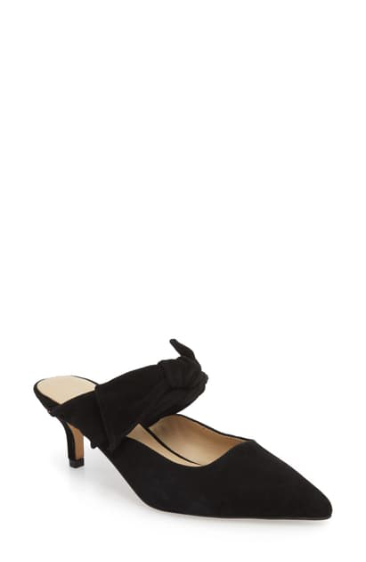 c0c1f1e9dd BOTKIER. Women's Pina Bow-Accented Suede Kitten Heel Mules in Black Suede