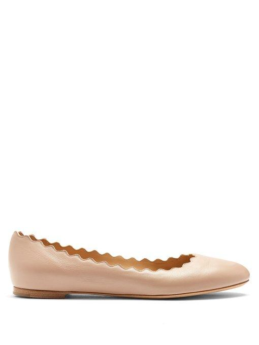 80fc6af13 ChloÉ Lauren Scallop-Edge Leather Ballet Flats In Nude | ModeSens