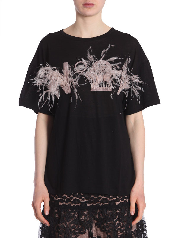 N°21 T-Shirt With Logo And Feathers In Black