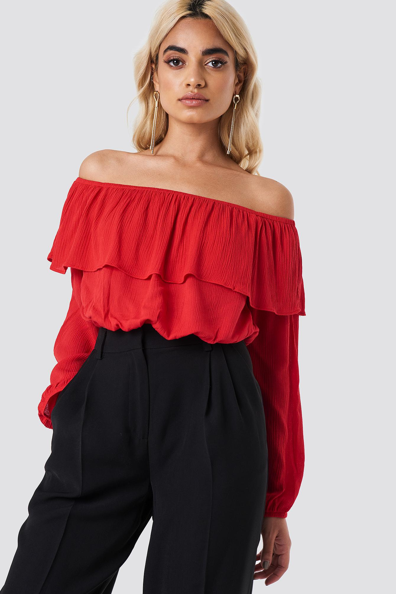 Glamorous Off Shoulder Ruffle Blouse - Red