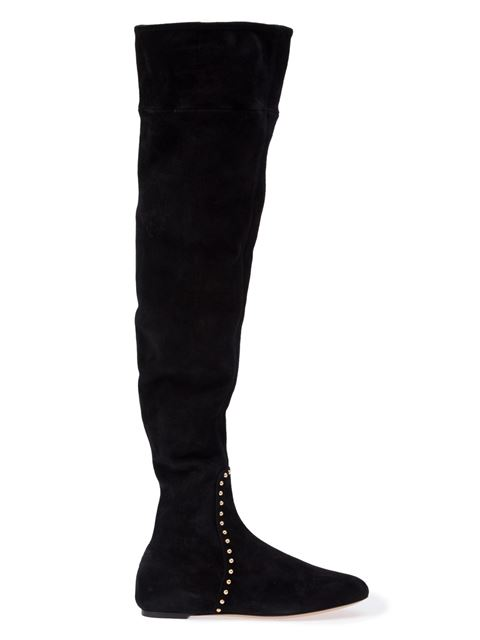 Charlotte Olympia Black Suede Thigh-High Andie Boots