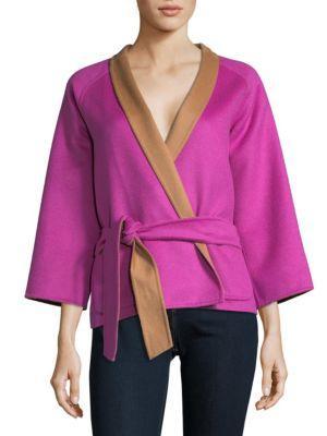 Max Mara Reversible Virgin Wool Jacket In Fuchsia