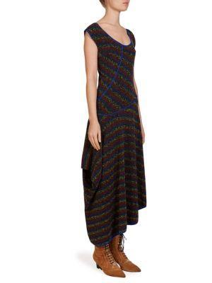 Loewe Asymmetric Knit Dress In Multi