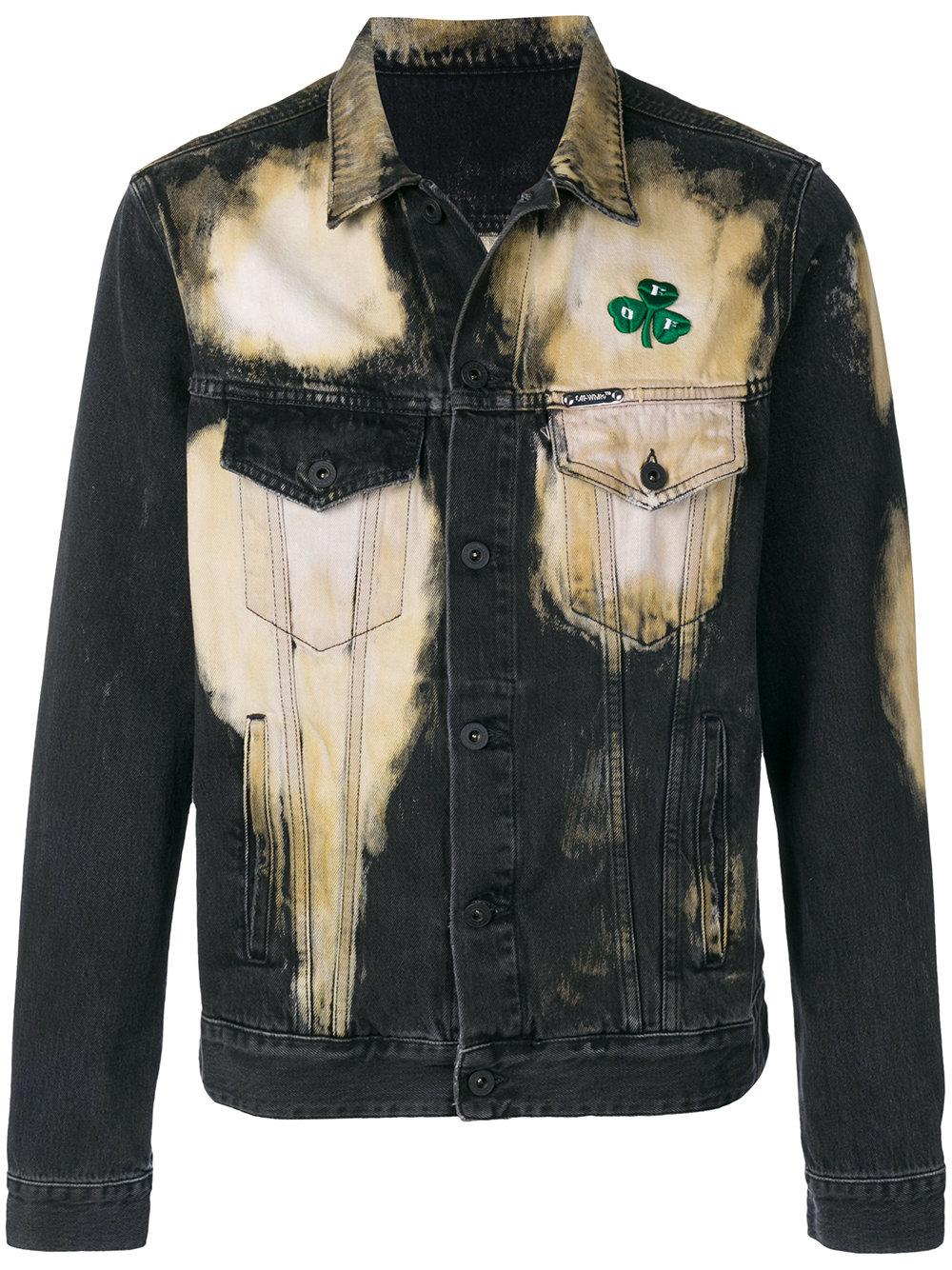 7a6f68c3b6ec Off-White Distressed Bleached Clover Embroidered Denim Jacket In Black In  Grey