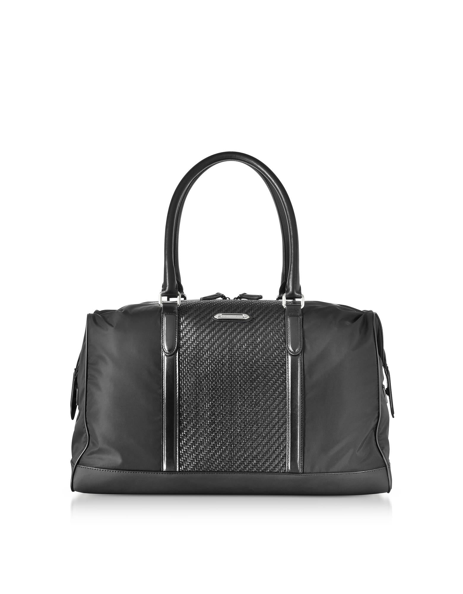 Ermenegildo Zegna Black Nylon And Woven Leather Holdall