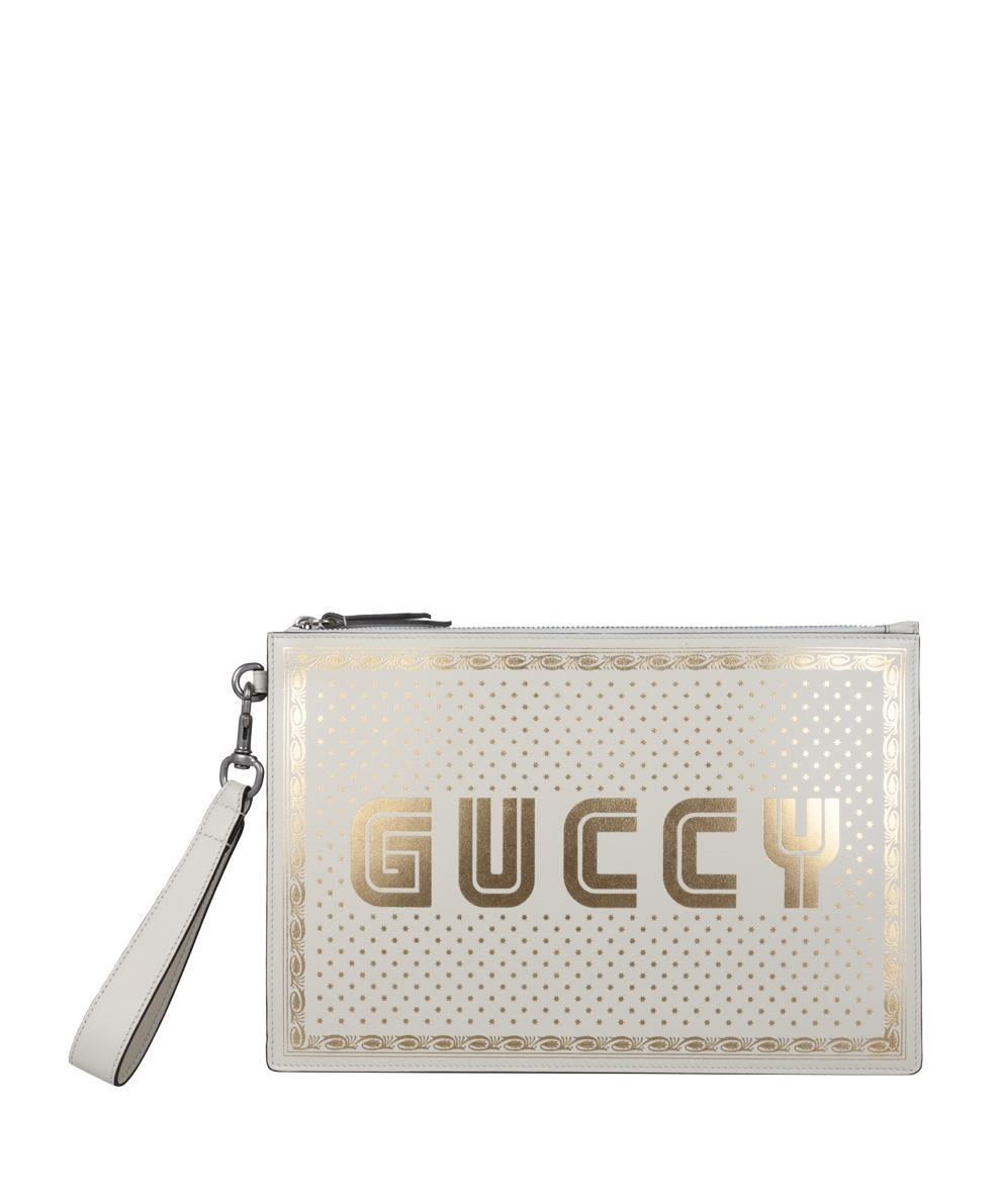 7eba5acdc5e Gucci Guccy Leather Pouch In Bianco