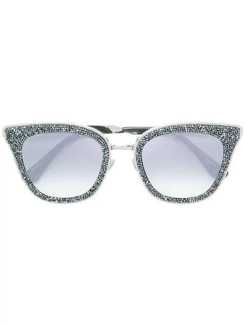 Jimmy Choo Lizzy 63 Crystal Embellished Sunglasses In Eic Grey Mirror Silver