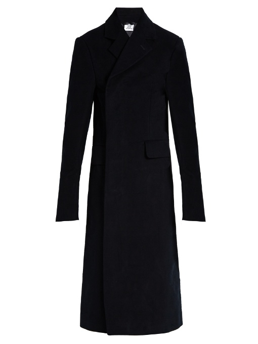 Vetements Double-breasted Brushed-cotton Coat In Navy