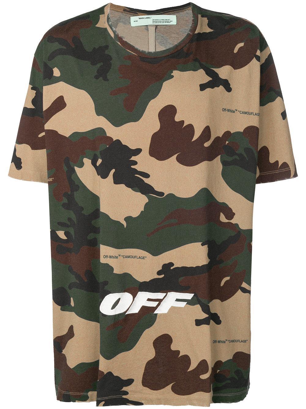ddedd7d4c9d1 Off-White Logo Camouflage Cotton Oversized T-Shirt - Beige