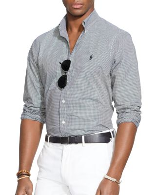Polo Ralph Lauren Hairline-striped Poplin Button-down Shirt - Classic Fit In Black/white