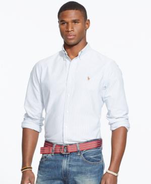 7f88f89d6ac0 Polo Ralph Lauren Men s Long-Sleeve Multi-Striped Oxford Shirt In Blue  White Stripe