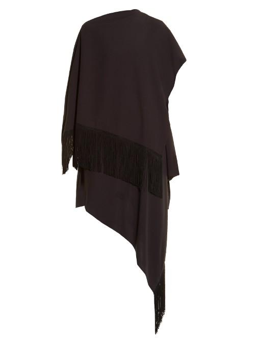 Balenciaga Fringed Cape Dress In Dark Grey