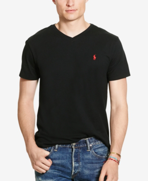 Polo Ralph Lauren Men's Core Medium-fit V-neck Cotton Jersey T-shirt In Polo Black