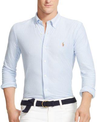 9172e0f4 Polo Ralph Lauren Striped Knit Oxford Slim Fit Button Down Shirt In Harbor  Island Blue/