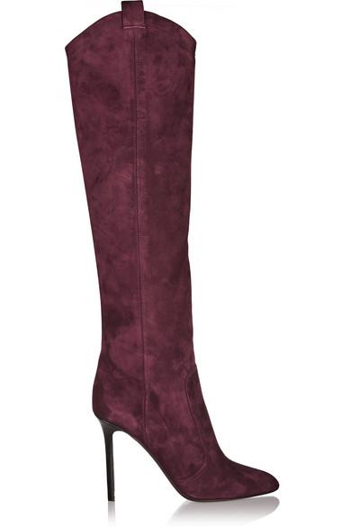 Tamara Mellon Woman Crazy Ride Suede Knee Boots Burgundy