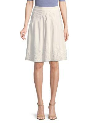 Karl Lagerfeld Pleated Lace Skirt In White
