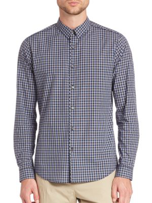 Theory Benner Trimont Checkered Shirt In Victory