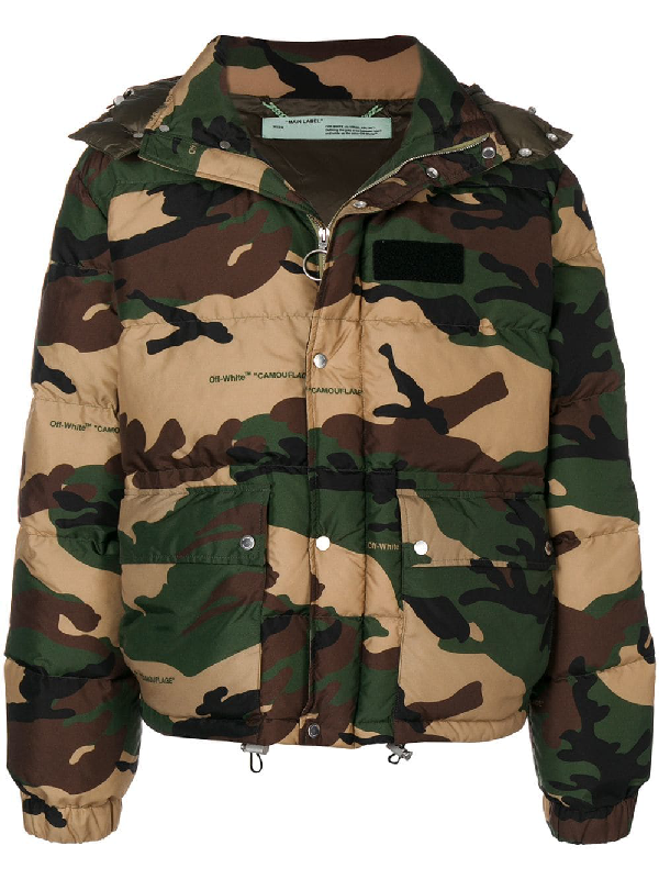 ad6abf65d Appliquéd Camouflage-Print Quilted Shell Hooded Down Jacket - Army Green